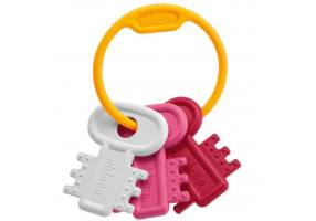 CHICCO Teething Key Ring Pink 3m+