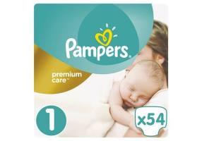 Premium Care Diapers Size 1 (Newborn) 2-5 kg 54 Diapers
