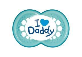I Love Mummy / Daddy Πιπίλα Σιλικόνης Μπλε 16m+ 1 τμχ