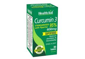 Health Aid Curcumin 3 Curcumin with Piperin 30tabs, 600mg