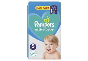 Pampers Active Baby Diapers Size 5 (11-16 kg), Maxi Pack, 51 Diapers